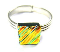 """Dichroic Glass Ring Adjustable Tiny 1/4"""" 10mm Copper Orange Gold Ripple Texture"""