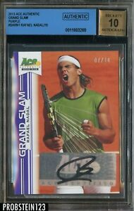 Rafael Nadal Signed 2013 Ace Authentic Grand Slam Purple /10 BGS 10 BAS