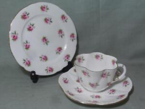 Shelley Late Foley Sprig of Roses Dainty Trio Cup Saucer & Side Plate Patt. 7447