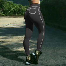 Womens Push Up Hip Yoga Muscle Compression Leggings Running Sports Stretch Pants