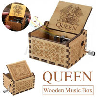Music Box Wooden Engraved Queen love Mom Dad Kids Gift Christmas Xmas  y ^