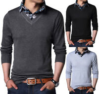 Mens Knitted Jumper Sweater With Shirt Collar Knitwear Pullover