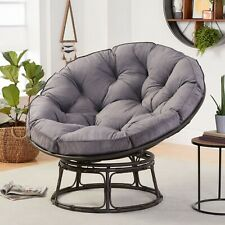 Papasan Chair W/ Cushion Modern Living Room Bedroom Seat Bowl Steel Frame Gray