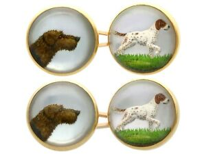 Essex Crystal and 18k Yellow Gold Dog Cufflinks - Antique Victorian
