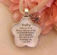 BOUQUET CHARM PERSONALISED BRIDAL WEDDING SOMETHING OLD THANK YOU Flower Girl