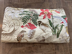 Pottery Barn Amaryllis Organic Bed Duvet Cover King Ivory Floral Flowers EUC