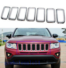 fit 2011-2016 Jeep Compass Chrome Front Grille Insert Grill Frame Cover Trim