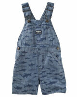 New OshKosh Toddler Boys Shark Print Chambray Shortalls Size 3T MSRP $34