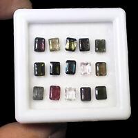 Natural Tourmaline 15 Pcs 7.60 Cts Multi Color Sparkling Emerald Cut Gemstones