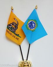 Gadsden & South Dakota Double Friendship Table Flag Set