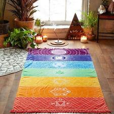 Rainbow Boho Beach Mat Mandala Blanket Striped Wall Hanging Tapestry Scarf Yoga#