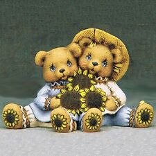 Ceramic Bisque Cuddle Bears with Sunflowers Clay Magic #1363 Ready to Paint