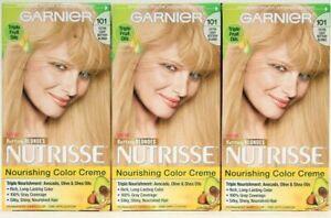 (3) Garnier Nutrisse 101 Extra Light Buttery Blonde Permanent Nourish Color Crem