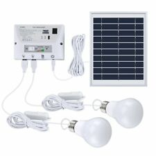 4.5W Solar Panel Lighting System Controller 3 USB Ports 2 LED Bulbs Outdoor 5V