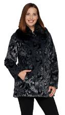Dennis Basso Platinum Collection Jacquard Faux Fur Coat, Size XXS, MSRP $199