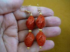 EE-400-14) Turned RED CINNABAR bead flower wooden bead dangle hook earrings gold