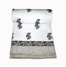 Reversible Vintage Indian Cotton Handmade Quilt Bedspread King Jaipuri Razai Art