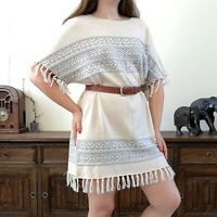 Laura Ashley 16 Beige Grey Fine Knit Aztec Long Tunic Top Slouchy Wool Cashmere