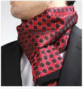 New Mens Double Side Scarf Silk Wool Blend Red & Black Diamonds Design