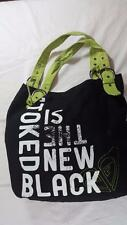 "ROXY BLACK GREEN CANVAS TOTE BAG  ""STOKED IS THE NEW BLACK"""