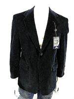 New STAFFORD Black 40S Short Corduroy Sport Coat 2 Button 100% Cotton Jacket
