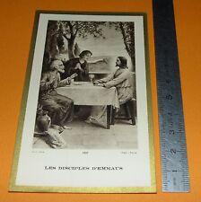 CHROMO 1932 IMAGE PIEUSE CATHOLICISME HOLY CARD DISCIPLES D'EMMAUS JESUS