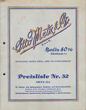BERLIN SO 16, Preisliste Nr. 32, 1933/34, Hotelpapier-Bedarf, Otto Metz & Co.