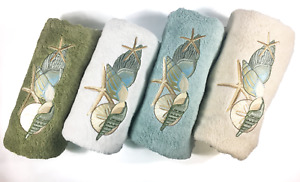 High End Embroidered Turkish Cotton Towel - Seashells Design - Multiple Colors