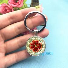 Haeckel Art Photo Tibet Silver Keychains Rings Glass Cabochon Key chain -222
