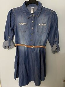 Girls Justice Denim Dress Size 14 NWOT Belted w/ Roll Tab Sleeves