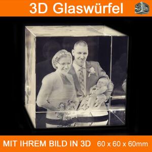 C60 3D Foto im Glas Gravur Emotionale Geschenkidee 2D in 3D Familie Haustier