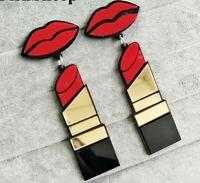FishSheep New Fashion Acrylic Red Mouth Lips Lipstick Drop Earrings For Women Hi