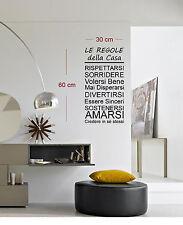 ADESIVI MURALI 30x60 ADESIVO MURO WALL STICKERS FRASI FRASE REGOLE DELLA CASA