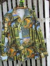 Mens Vintage poly disco shirt 70s long sleeve tropical fish ocean sailboat sea