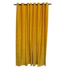 Yellow 7 ft Long Cotton Velvet Curtain Panel w/Grommet Custom Theater Drapery