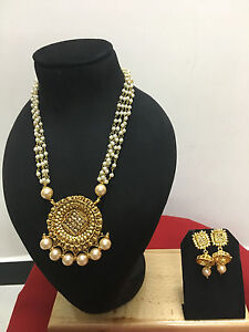 Indian Ethnic Gold Plated Bollywood Bridal Pearl Fashion Jewelry Necklace Set