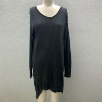 Love Scarlett Knit Tunic Sweater Women's M Black Long Sleeve Silk Cashmere