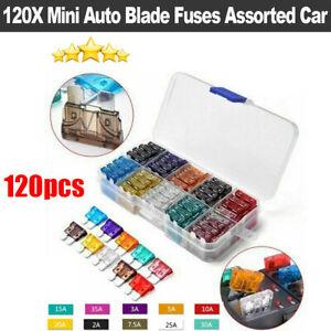 120X Mini Auto Blade Fuses Box Set Assorted Car Van Bike Truck Fuse 2-35A UK