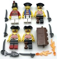 LEGO 5 NEW PIRATE MINIFIGURES WITH TREASURE CHEST AND SWORDS EYEPATCHES FIRE