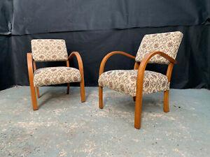 EB1684 Pair of Danish Bent Beech & Floral Fabric Arm Chairs Mid Century Modern