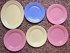 Pastel Moderntone Hazel Atlas Vintage Platonite Oval Platter & 5 Plates bx33
