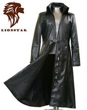 Unisex Newage Matrix Gothic Steampunk Vintage Military Edwardian Leather Coat