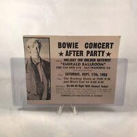 David Bowie Emerald Ballroom After Party Concert Ticket Stub Vintage Sep 17 1983