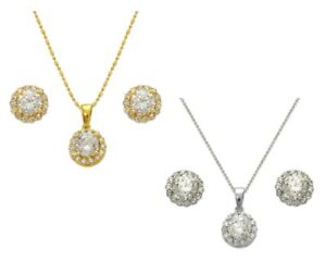 Jewelry Set Women 14K Solid Yellow White Gold CZ Solitaire Stud Earrings Pendant