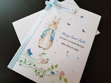 RABBIT Personalised Handmade Christening, Baptism, Birthday Card - A5 Size