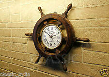 "Wooden Wheel Clock for Wall 18"" ✿ Sheesham Wood Vintage Antique type ✿Home Decor"