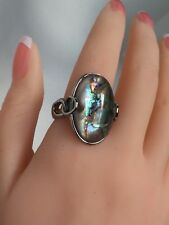 Gorgeous Abalone & Rock Crystal Large Statement Ring Stainless Steel  Size 10