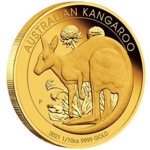 Australien - 15 Dollar 2021 - Känguru - im Etui - 1/10 Oz Gold PP