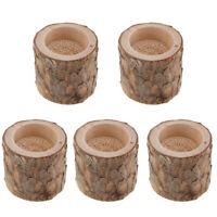 5 x Rustic Wooden Votive Candle Holder Vintage Tea Light Candlestick Candle Base