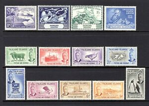 FALKLAND ISLANDS 1949 UPU + 1952 TO 1/- VALUE MOUNTED WITH HINGE REMAIN CAT £82